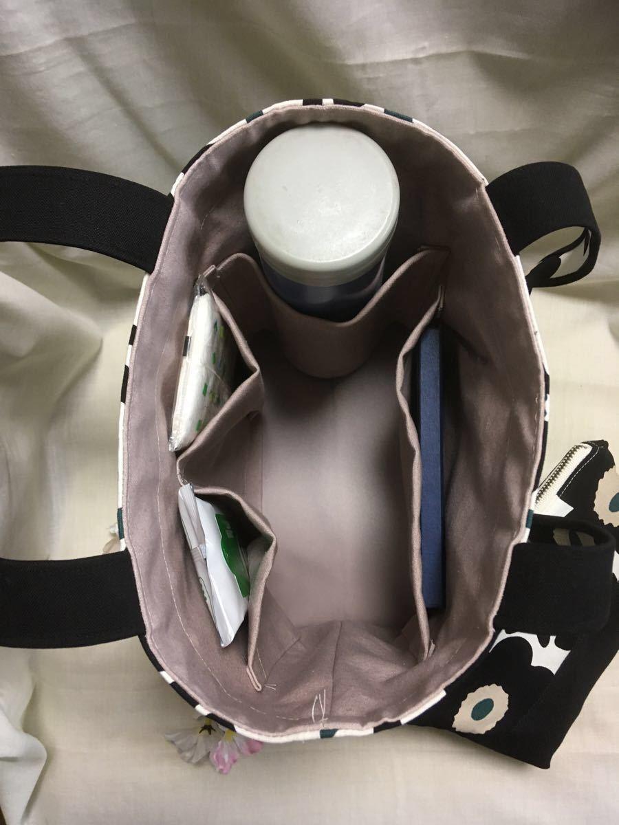 トートバッグ (ちょっと小さめ・滑り止め付き・肩がけトート)・とポーチのセット(BGフラワー)・ショルダーバッグ ハンドメイド