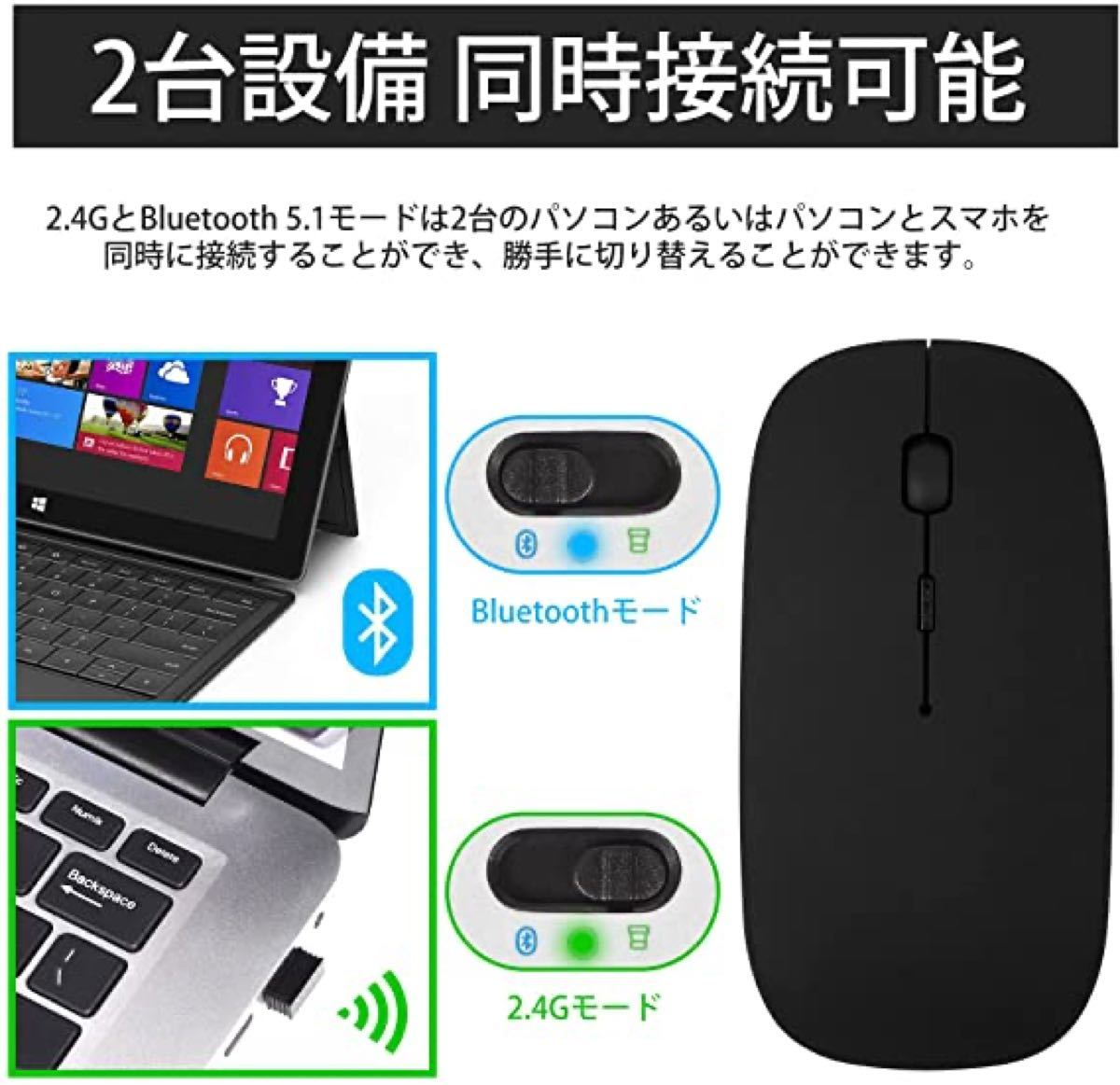 ワイヤレスマウス Bluetooth ワイヤレスマウス 超薄型 静音 2.4GHz 省エネルギー 3段調節可能