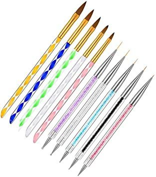 5本ネイルブラシと ジェルネイル 3D 可愛い UV 5本両頭ネイルアートドットペン アクリルネイル ネイルブラシセット(10本_画像1