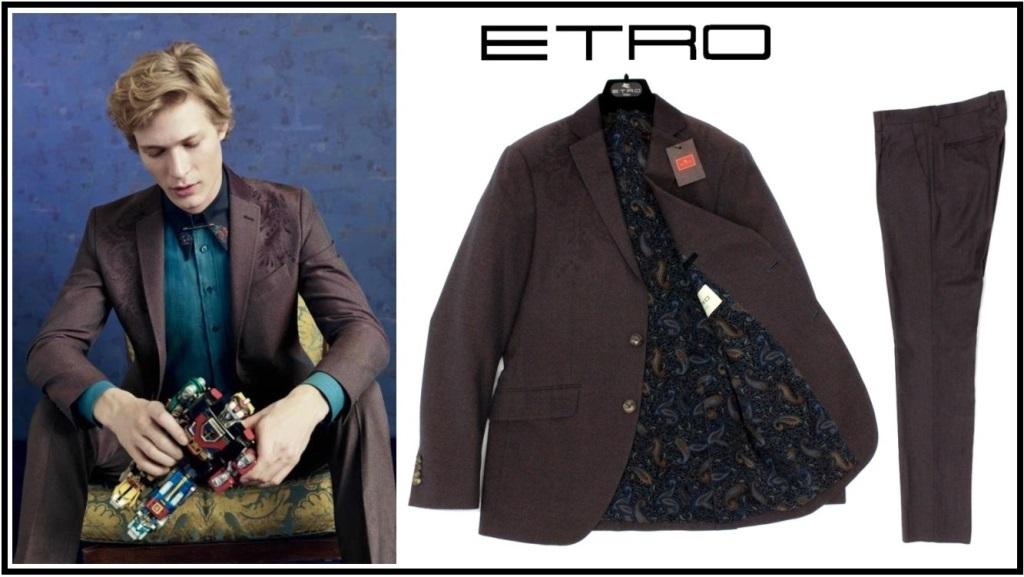 32万新品◆48=M◆エトロジャパン◆最高級ペイズリー刺繍コットンウールスーツ【ETRO】1円