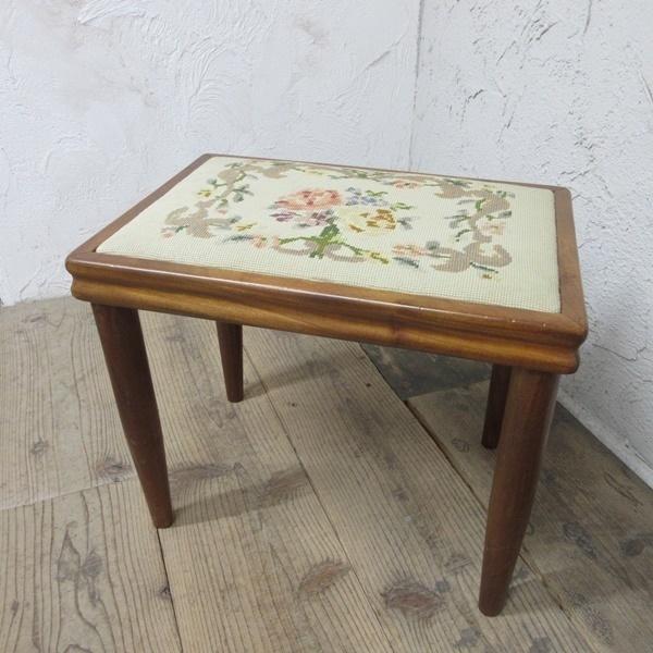 イギリス アンティーク 家具 スツール 椅子 チェア クロスステッチ 木製 英国 OTHERCHAIR 6807b_画像1