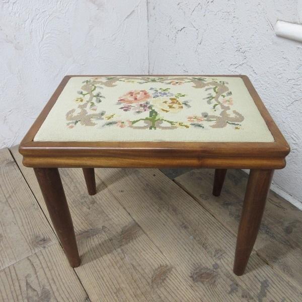 イギリス アンティーク 家具 スツール 椅子 チェア クロスステッチ 木製 英国 OTHERCHAIR 6807b_画像2