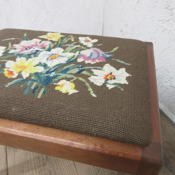 イギリス アンティーク 家具 スツール 椅子 チェア クロスステッチ 木製 英国 OTHERCHAIR 6808b_画像9