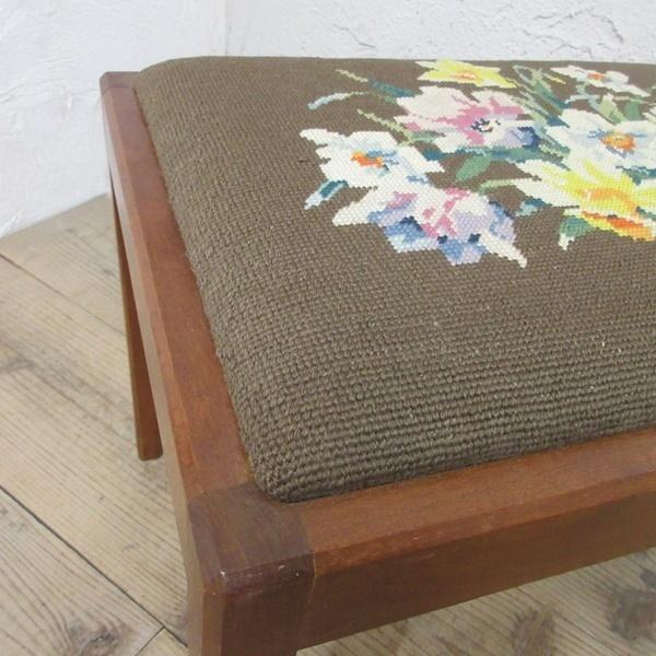 イギリス アンティーク 家具 スツール 椅子 チェア クロスステッチ 木製 英国 OTHERCHAIR 6808b_画像8