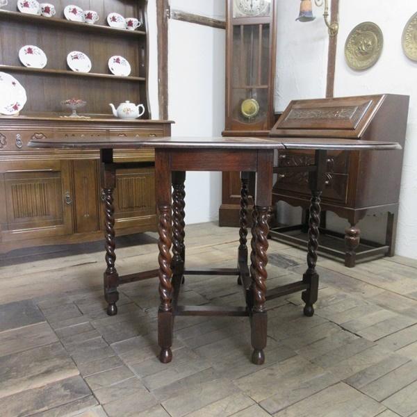 イギリス アンティーク 家具 ダイニングテーブル バタフライ ゲートレッグテーブル ツイストレッグ木製 英国 TABLE 6868b_画像5