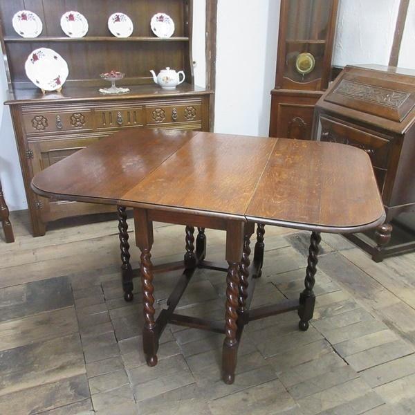 イギリス アンティーク 家具 ダイニングテーブル バタフライ ゲートレッグテーブル ツイストレッグ木製 英国 TABLE 6868b_画像2