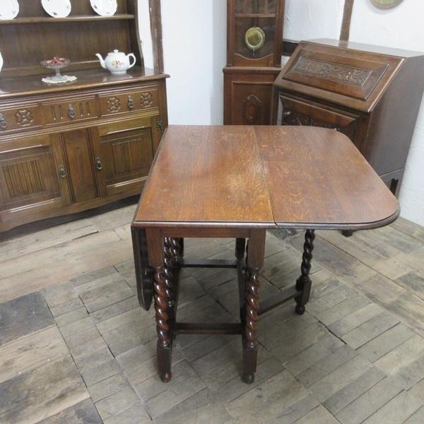 イギリス アンティーク 家具 ダイニングテーブル バタフライ ゲートレッグテーブル ツイストレッグ木製 英国 TABLE 6868b_画像6