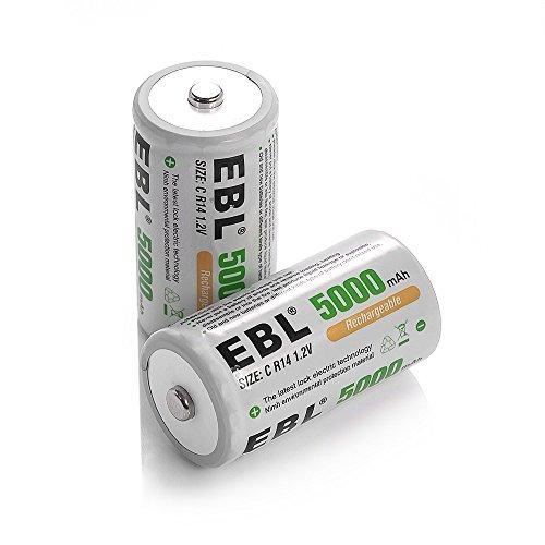 単2形充電池2個 EBL 単2形 充電式ニッケル水素電池 2個入 ケース付き 高容量5000mAh、約1200回使用可能 単二充_画像1
