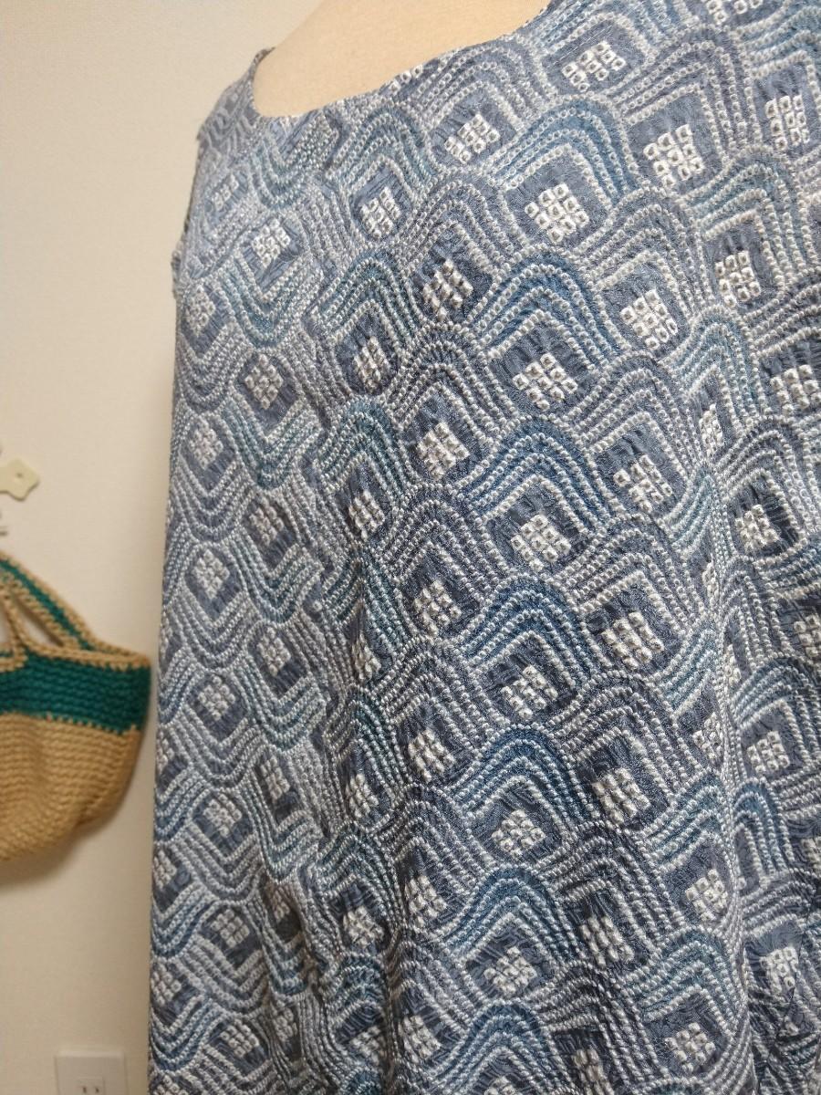 着物リメイク ワンピース 総絞り Lサイズ ブルー
