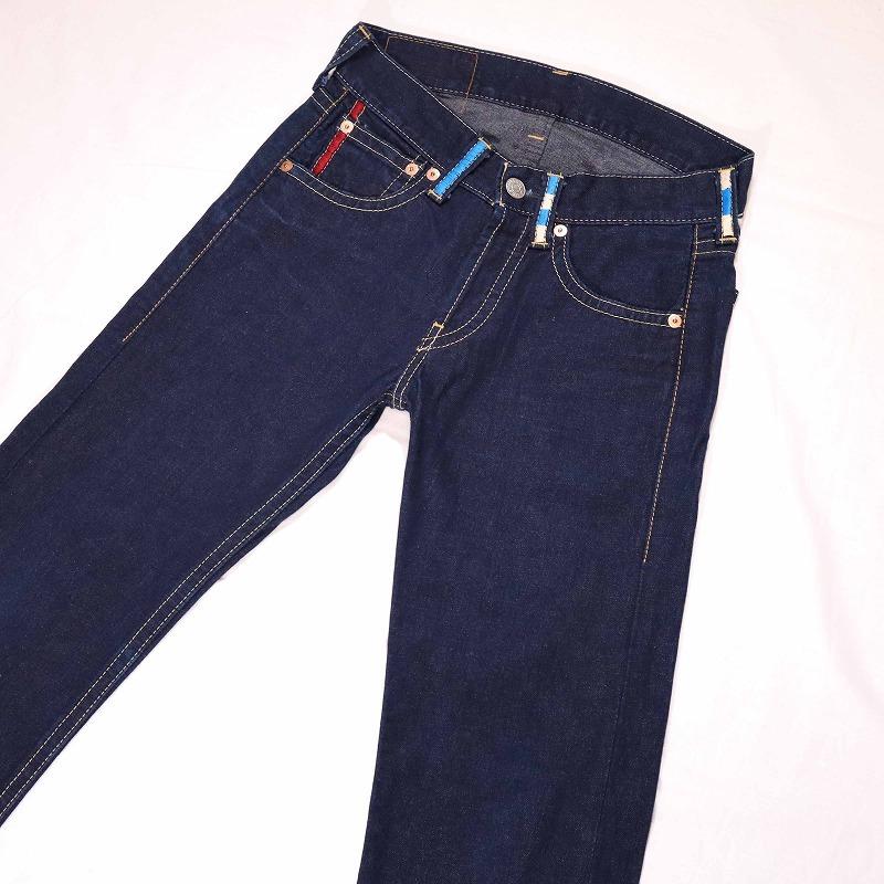 希少 美品 Levi's 901 リーバイス 濃紺ストレートデニムパンツ カラフル刺繍入り ボタンフライ メンズ ジーンズ W30 ウエスト約82㎝_画像2