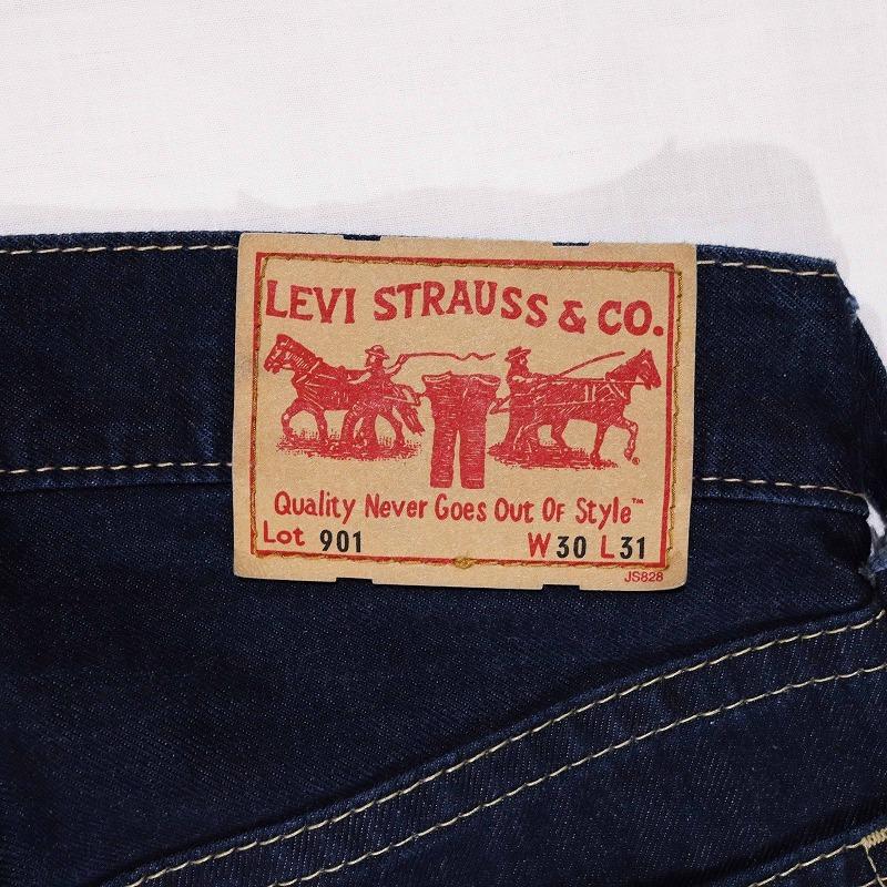 希少 美品 Levi's 901 リーバイス 濃紺ストレートデニムパンツ カラフル刺繍入り ボタンフライ メンズ ジーンズ W30 ウエスト約82㎝_画像5
