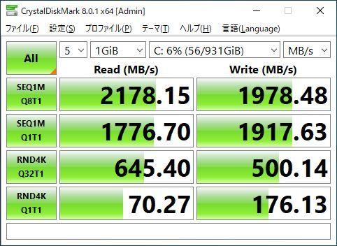 第7世代 i7-7700(4.2GHz×8)◆超大容量メモリ48GB◆新品SSD(M.2) 1TB◆新品HDD 4TB◆HDMI◆DP◆USB3.0◆Wi-Fi(無線)◆Win10◆MS Office2019_SSD1TB(M.2)の速度計測(SSD/SATAの3倍以上)