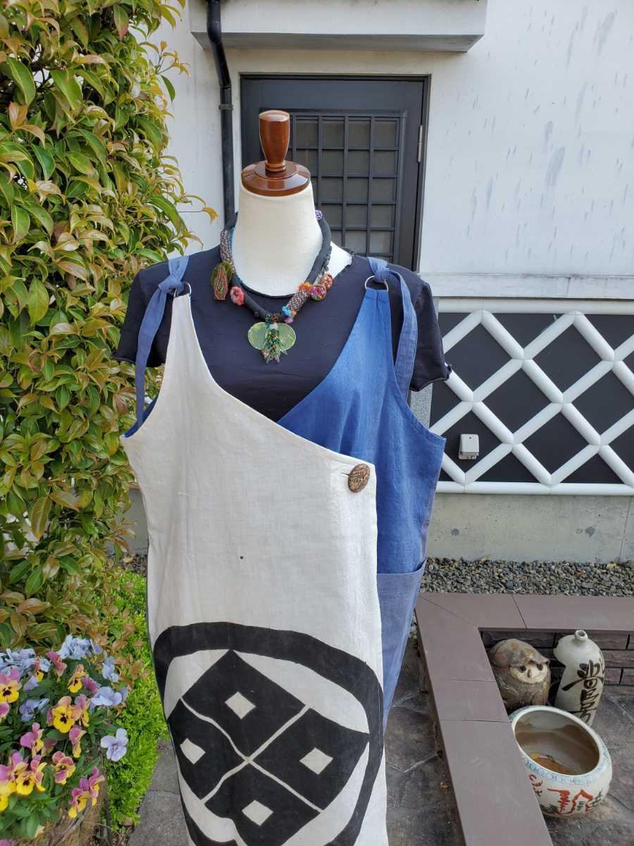 着物リメイク 古布 手作り 大きな紋 ジャンパースカート_画像4