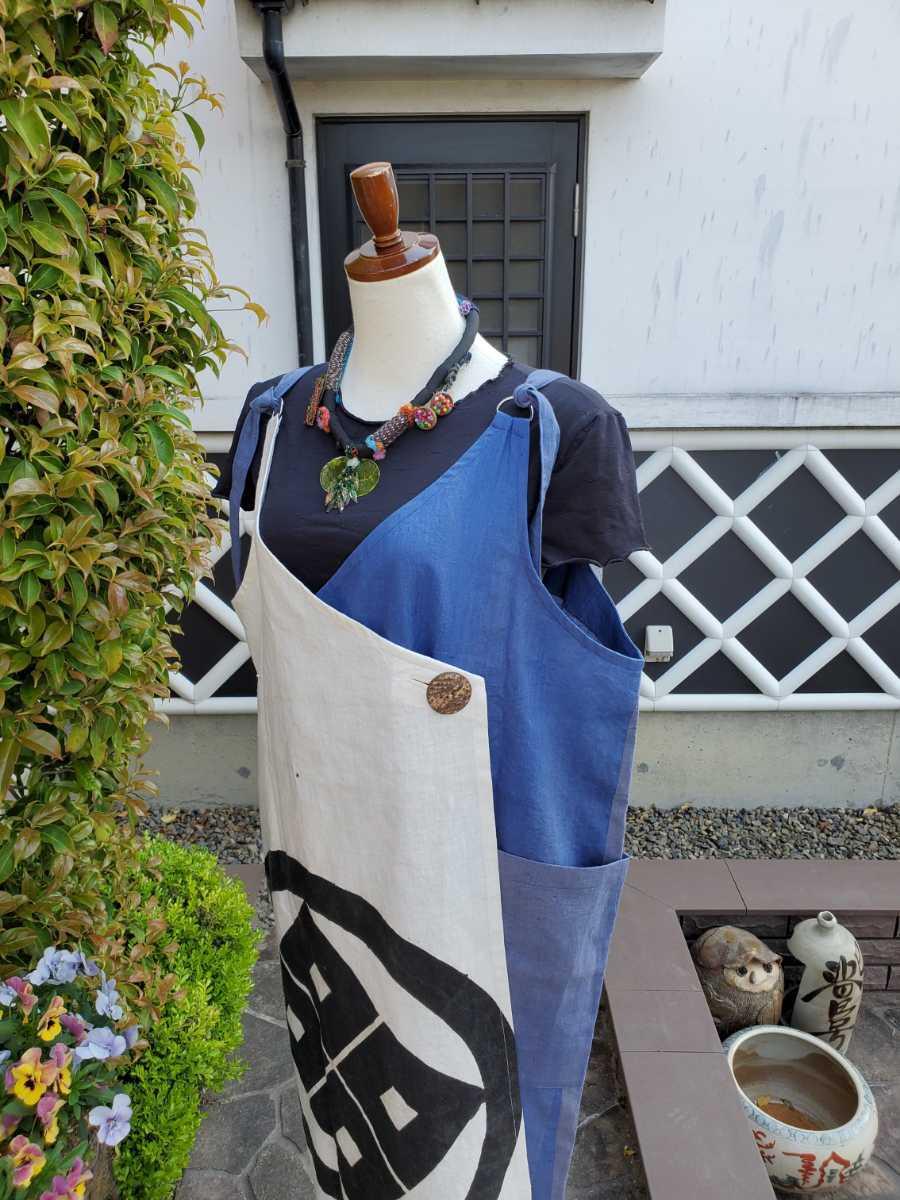 着物リメイク 古布 手作り 大きな紋 ジャンパースカート_画像6