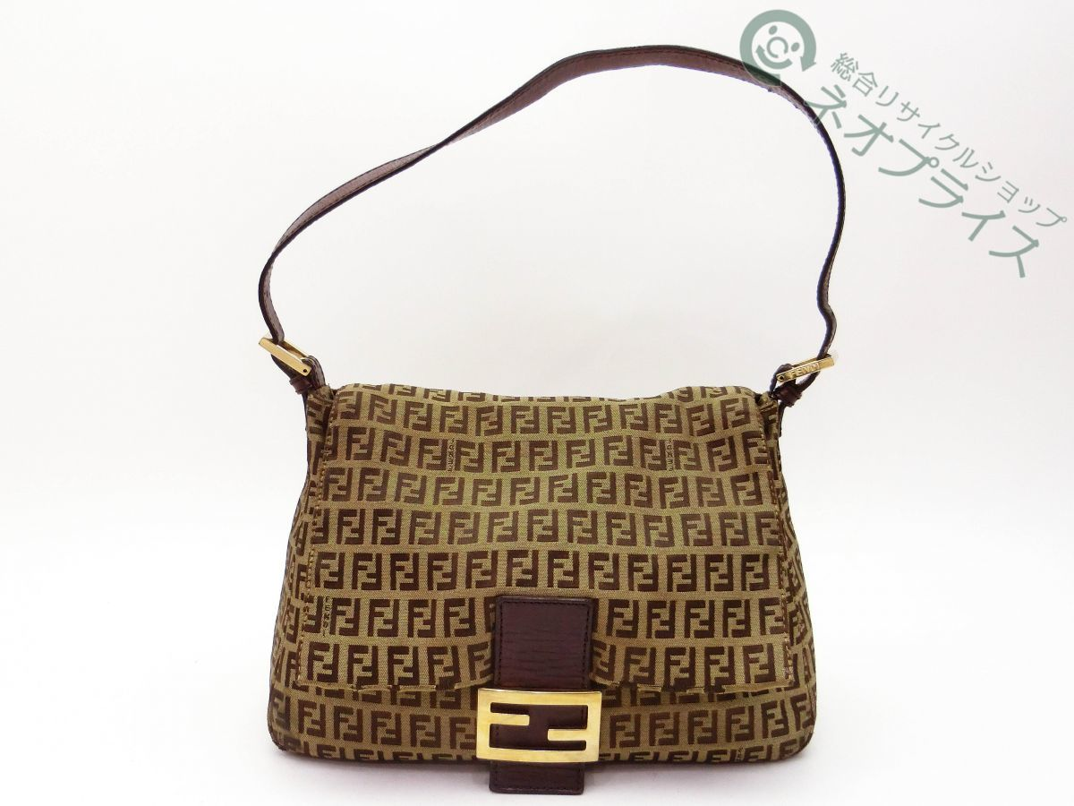 ◆Z8320 FENDI フェンディ ズッカ柄 キャンバス マンマ レザー ショルダー バッグ