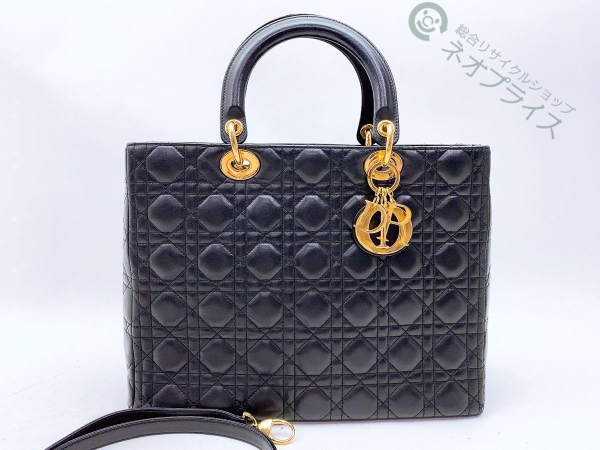 ◆S6278 Dior レディディオール カナージュ 2WAY レザー ハンド バッグ