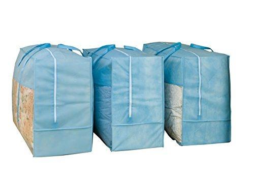ブルー 3枚組 70×30×50㎝ アストロ 羽毛布団 収納袋 3枚 シングル・ダブル兼用 ブルー 不織布 持ち手付き 縦型 1_画像1