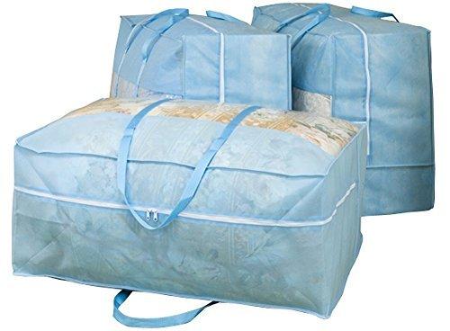 ブルー 3枚組 70×30×50㎝ アストロ 羽毛布団 収納袋 3枚 シングル・ダブル兼用 ブルー 不織布 持ち手付き 縦型 1_画像3