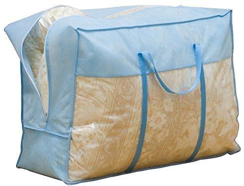 ブルー 3枚組 70×30×50㎝ アストロ 羽毛布団 収納袋 3枚 シングル・ダブル兼用 ブルー 不織布 持ち手付き 縦型 1_画像8