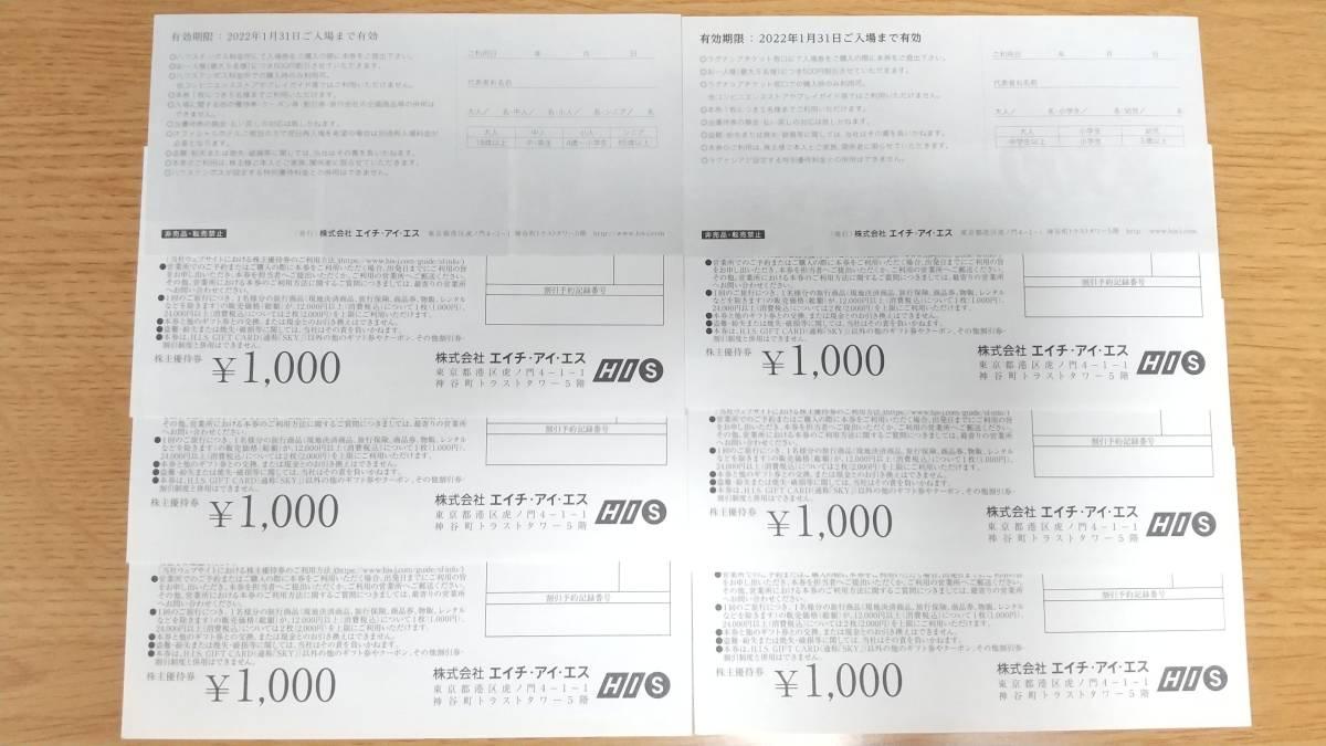 HIS 株主優待券1000円×6、割引券500円×2 合計7000円分_画像2
