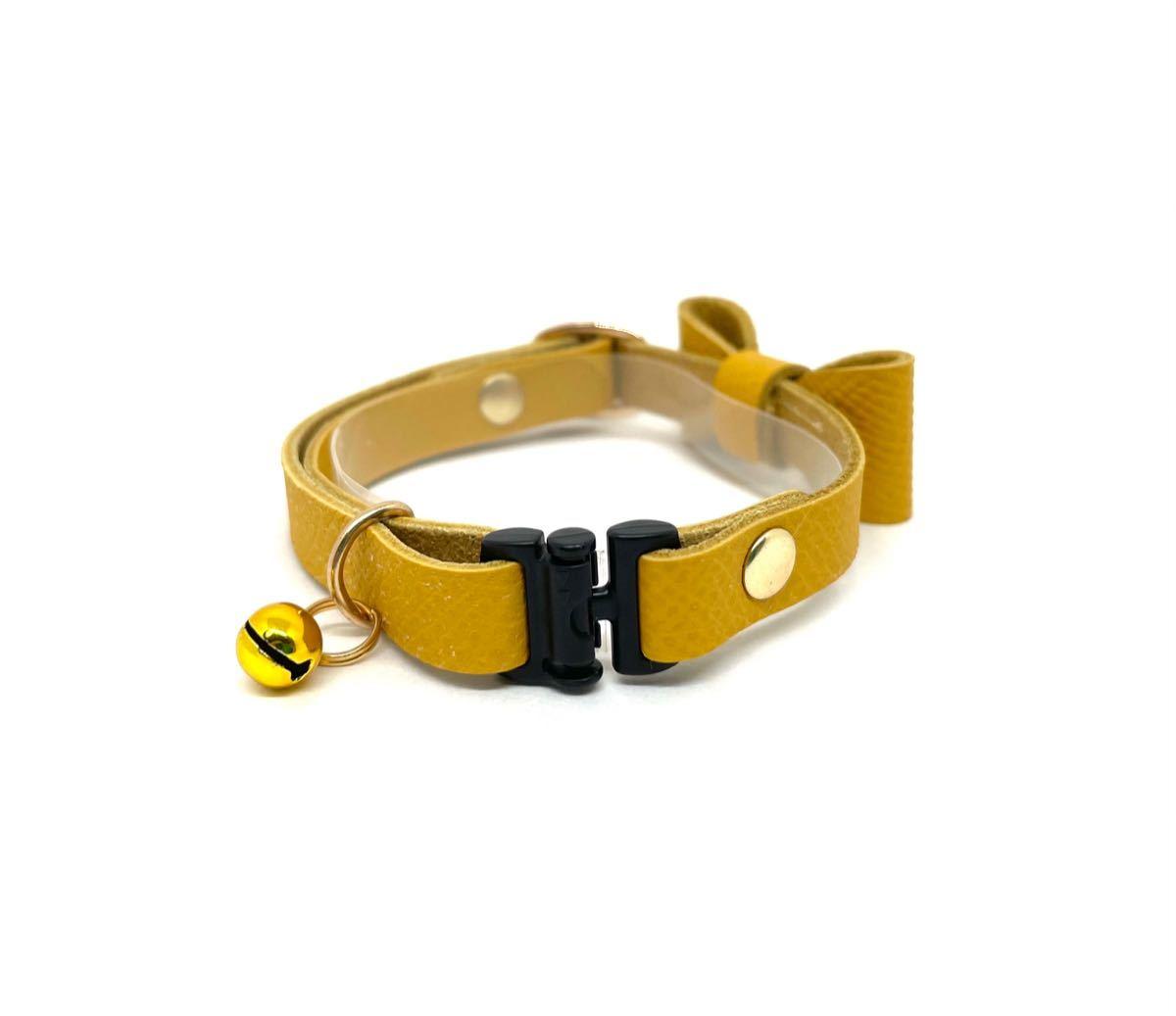 猫首輪 リボン フレンチレザー 本革 黄色