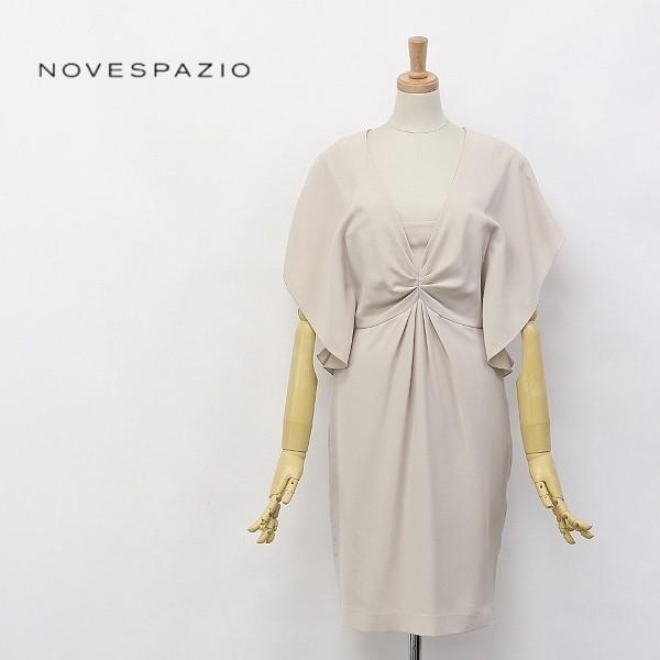 ◆NOVESPAZIO/ノーベスパジオ ドレープ ギャザー Vネック フレアスリーブ ワンピース 38_画像1