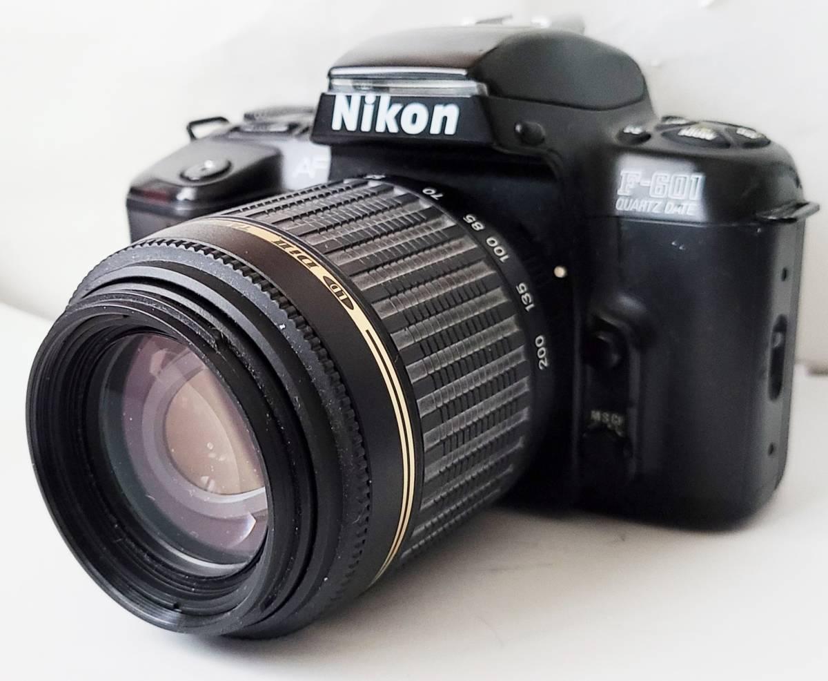 Nikon ニコン F-601 Quartz Date フィルムカメラ + Tamron タムロン 55-200mm f/4-5.6 レンズ 動作します_画像2