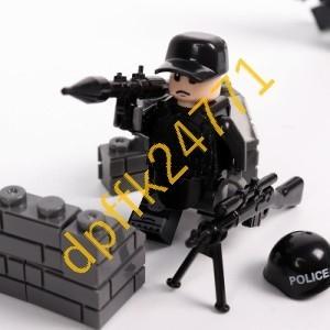 QA023:MOC LEGO レゴ ブロック 互換 SWAT 特殊部隊 アンチテロ部隊 カスタム ミニフィグ 6体セット 大量武器_画像4