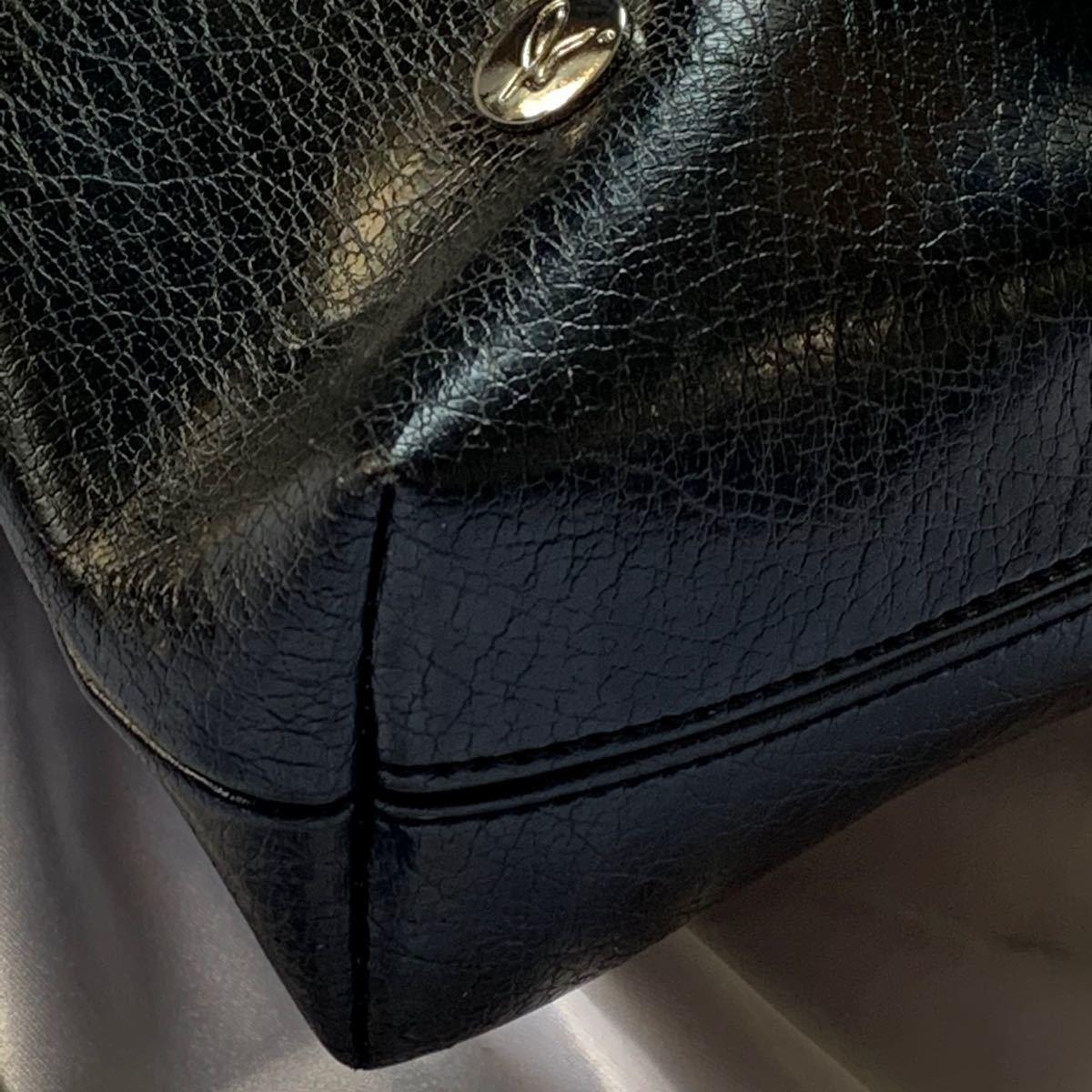 agnes b.  アニエスベー ショルダーバッグ ロゴ刺繍 レザー ブラック