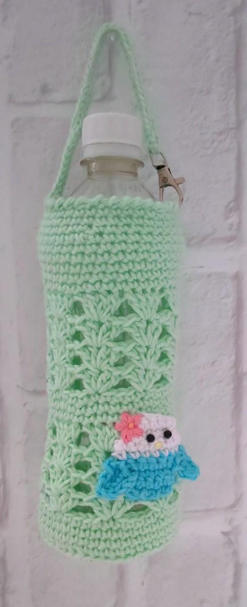 ペットボトルホルダー ペットボトルカバー ペットボトルケース ドリンクホルダー インコ グリーン ハンドメイド 編み物 かわいい