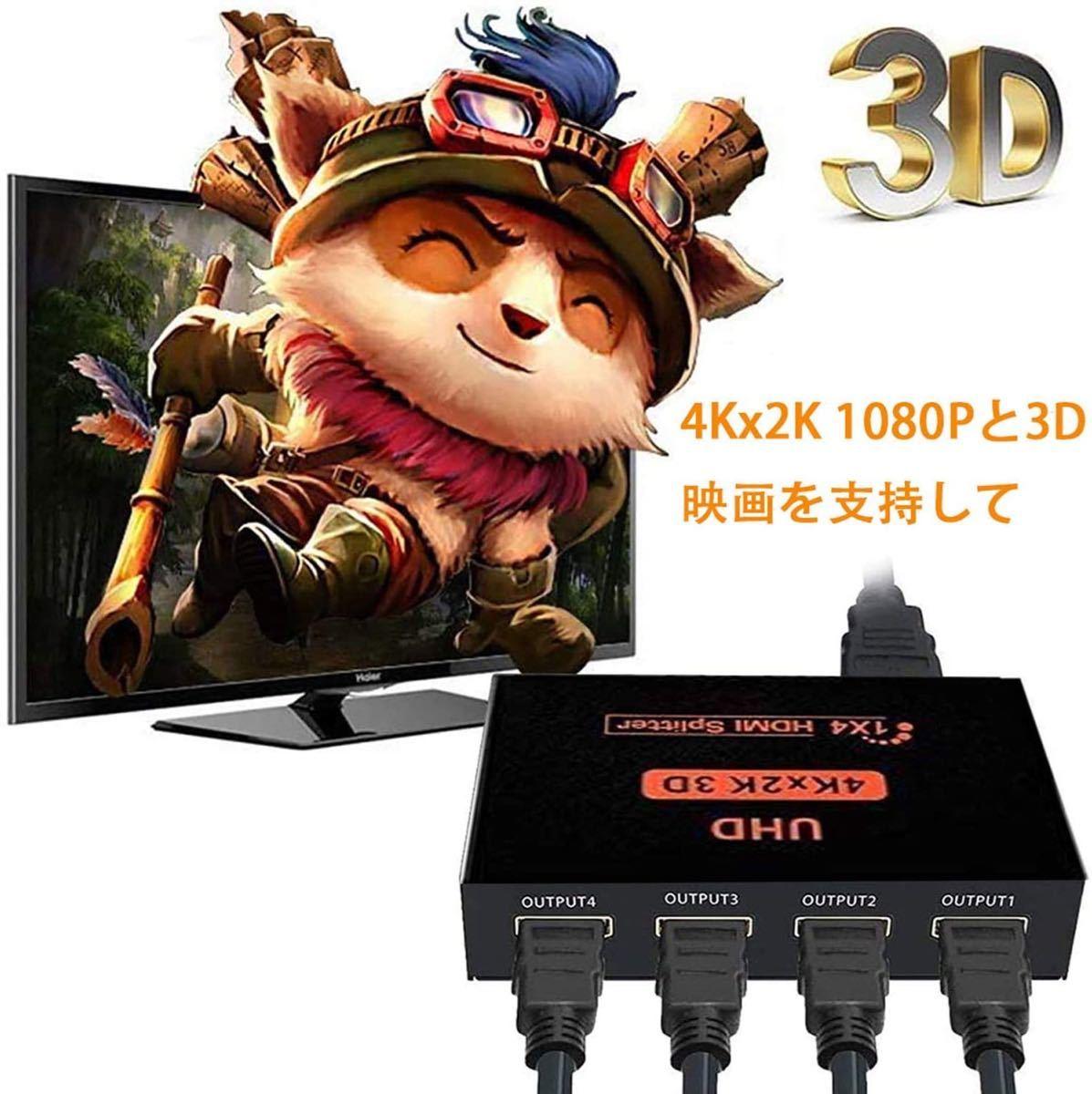 HDMI 分配器 HDMIスプリッター 1入力 4出力 4画面 同時出力 4K