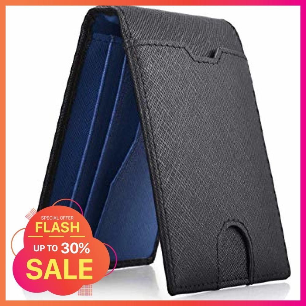 黒+青 NEWHEY マネークリップ メンズ 財布 二つ折り 本革 ビジネス カード 安い 薄型 軽量 クリッ_画像1