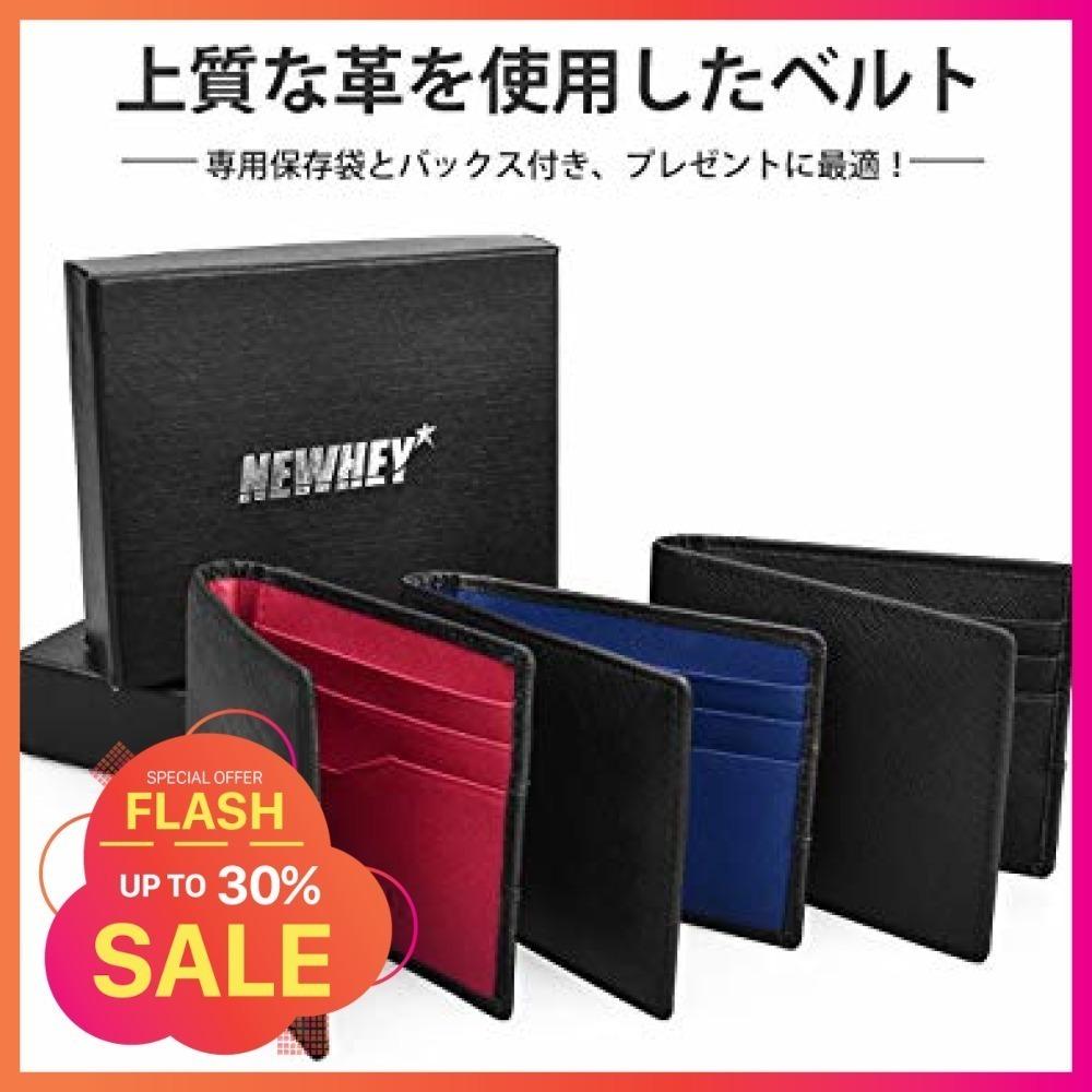 黒+青 NEWHEY マネークリップ メンズ 財布 二つ折り 本革 ビジネス カード 安い 薄型 軽量 クリッ_画像2