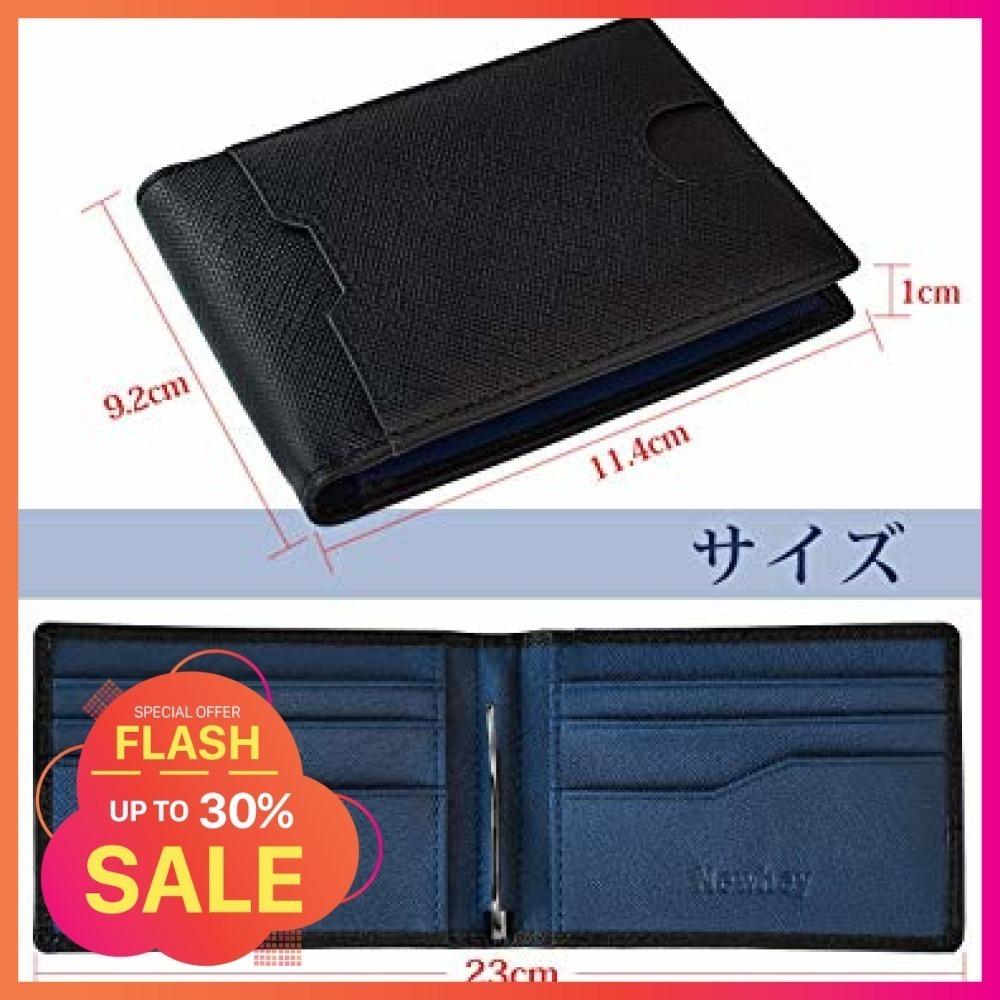 黒+青 NEWHEY マネークリップ メンズ 財布 二つ折り 本革 ビジネス カード 安い 薄型 軽量 クリッ_画像4
