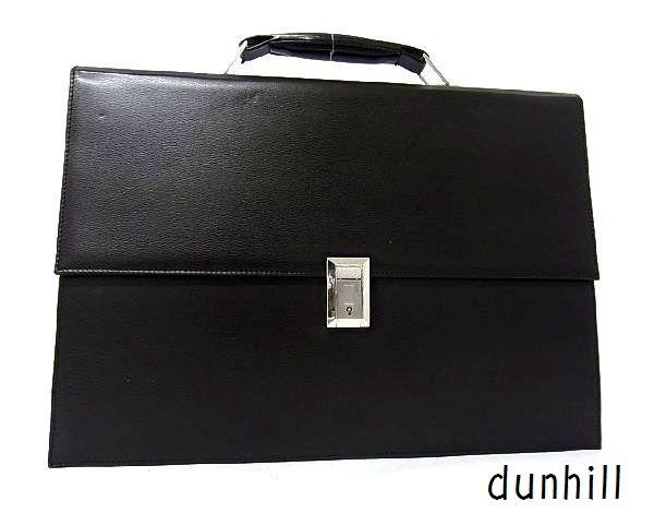 dunhill ダンヒル レザー シルバー金具 ハンドバッグ ビジネスバッグ ブリーフケース 書類かばん メンズ ブラック_画像1
