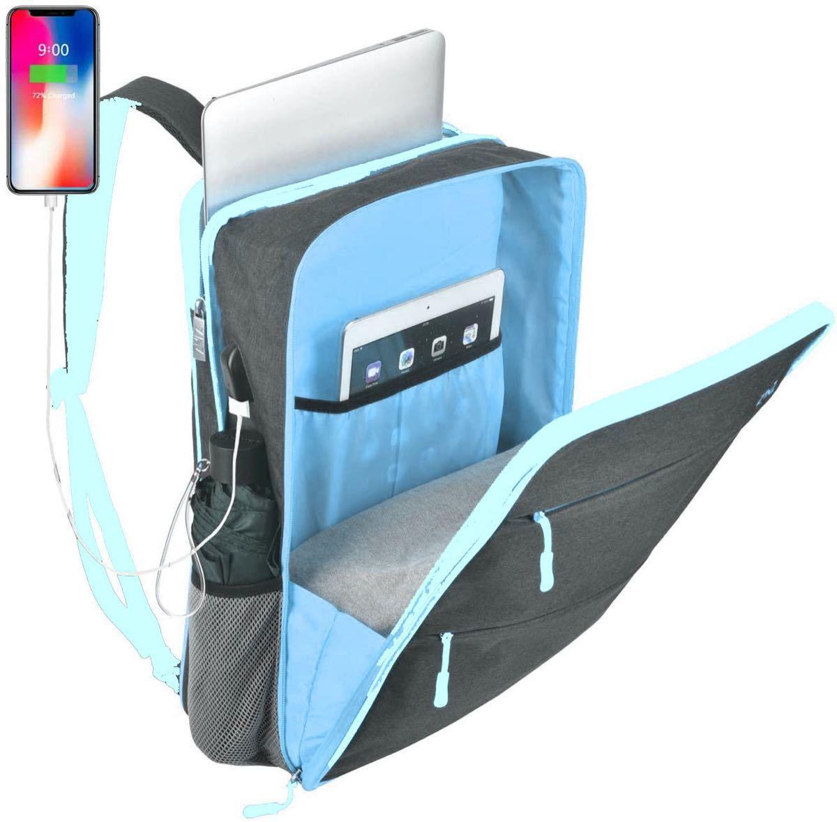 ビジネスリュック バックパック パソコンバッグ 15.6インチ pc バッグ 大容量 マチ拡張 多機能 usb充電ポート付き 軽量