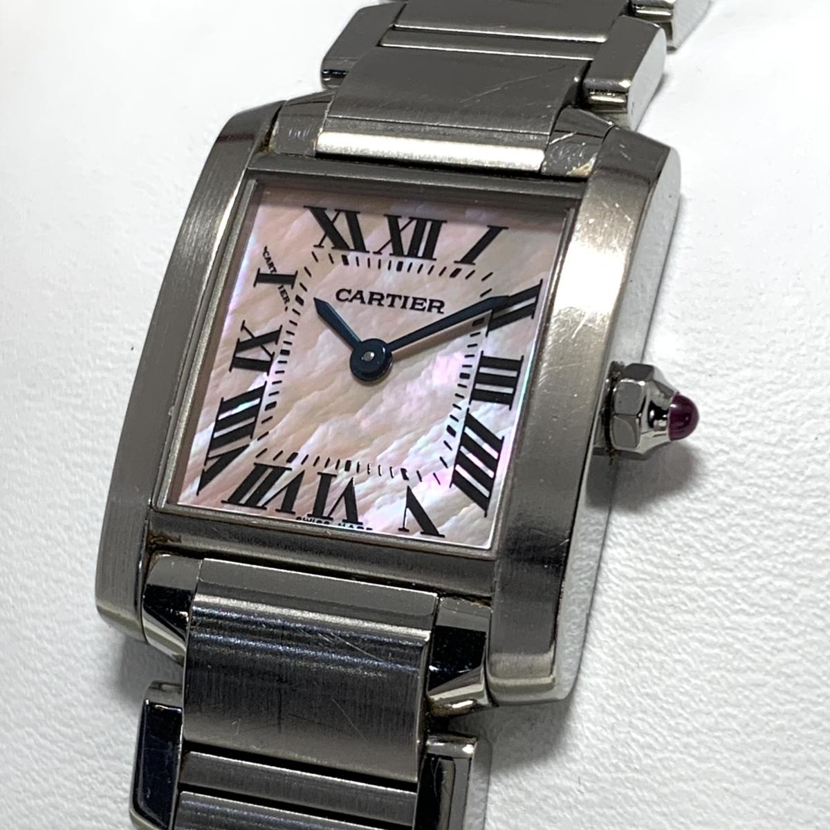 ☆1円~ カルティエ Cartier タンクフランセーズ ピンクシェル文字盤 W51028Q3 レディース クオーツ 保証書 腕時計 CD27186254