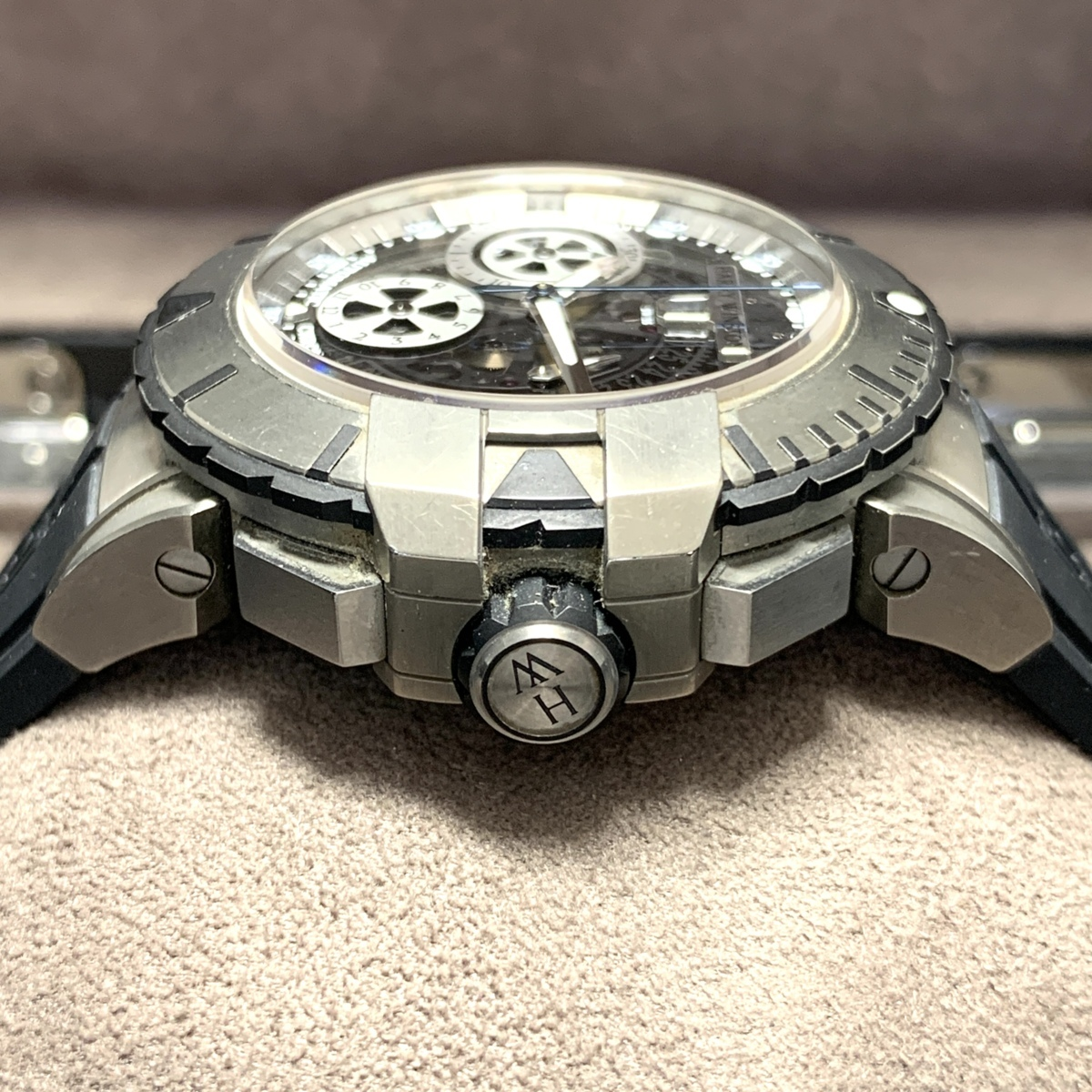 ◎1円~ ハリーウィンストン オーシャンスポーツ クロノ スケルトン 411/MCA44ZC.WI メンズ 自動巻き 保証書 腕時計 CD27176915_画像2