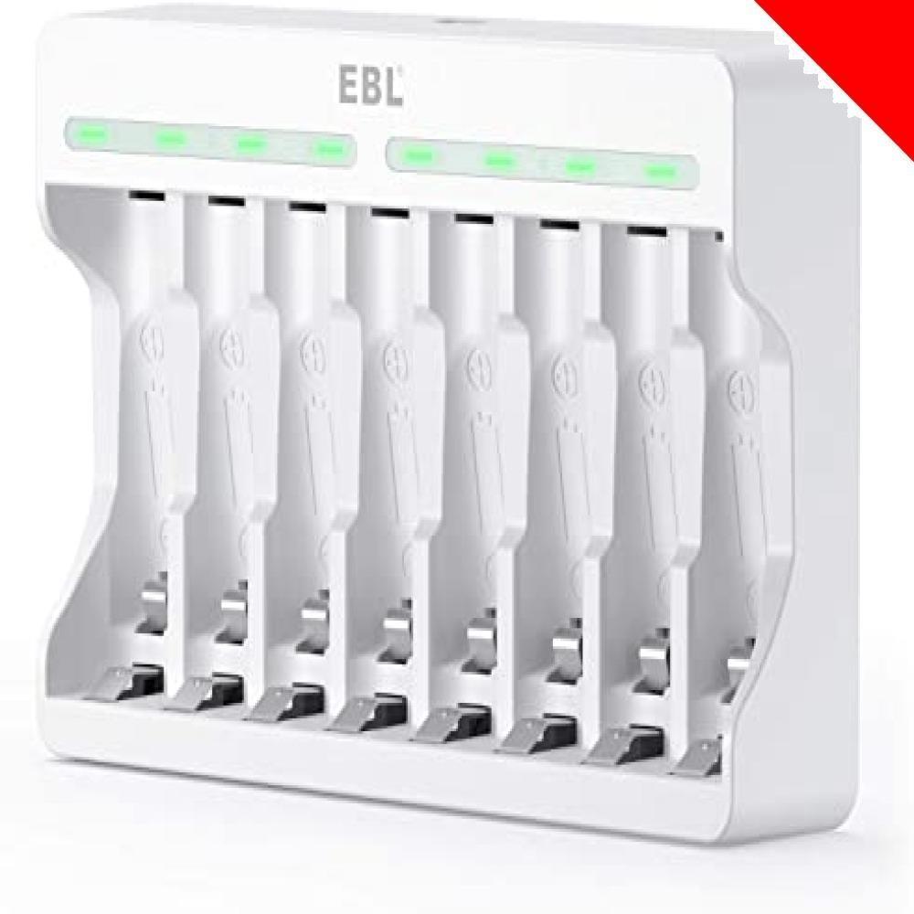 白い 電池充電器 EBL 充電池充電器 単三単四ニッケル水素/ニカド充電池に対応 単3単4電池充電器 1本~8本まで自由に充電可_画像1