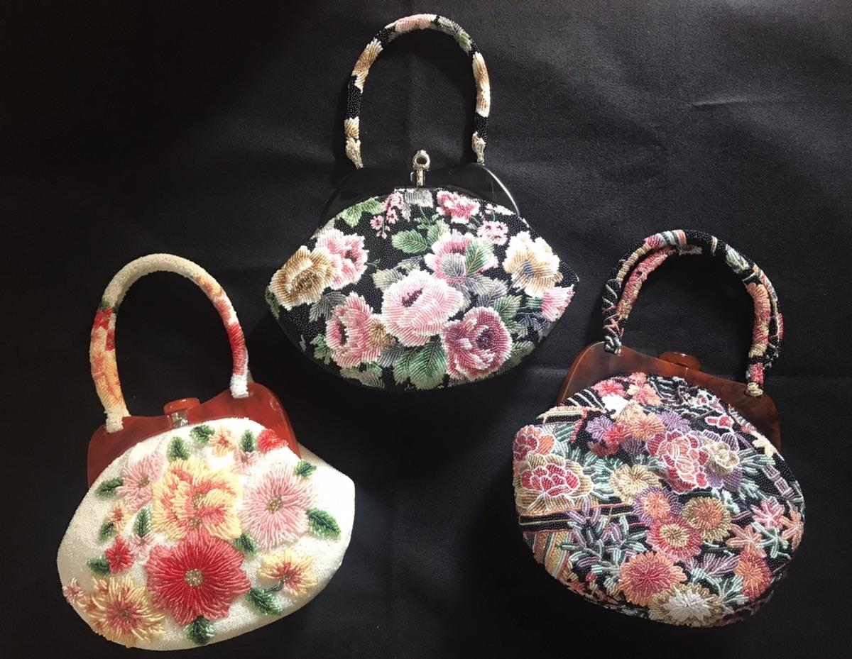 nk03 和装バッグ まとめ売り 花柄 ビーズバッグ 和装小物 着物 和装用バッグ 美品