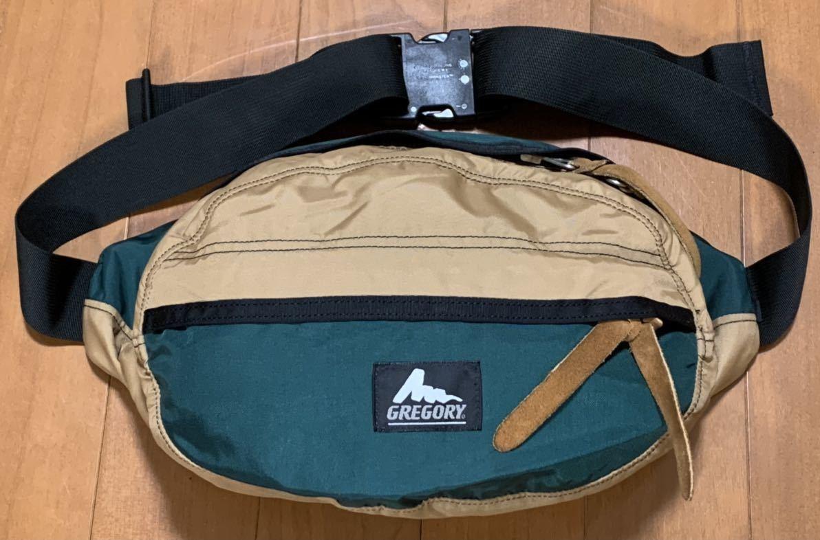 グレゴリー GREGORY 旧ロゴ テールメイト USA製 ソニーファミリークラブ別注品 ベージュ x グリーン  ウエストバッグ ボディバッグ