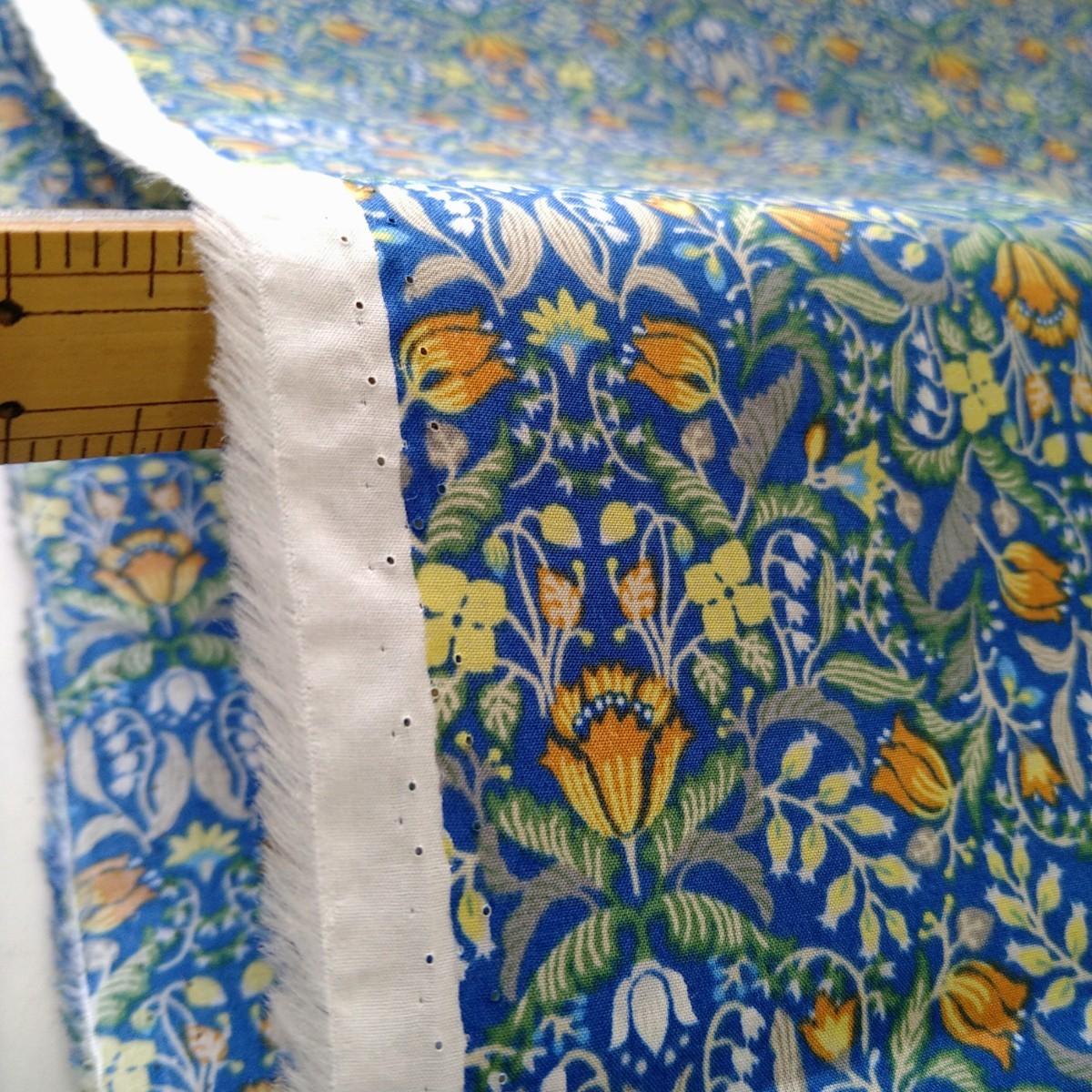 生地 2m 綿 小花柄 Blue 巾110