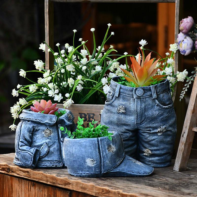 フラワーポット デニムジャケット 園芸用品 小花 多肉植物 ジーンズ 植木鉢 かわいい 庭 玄関_画像2