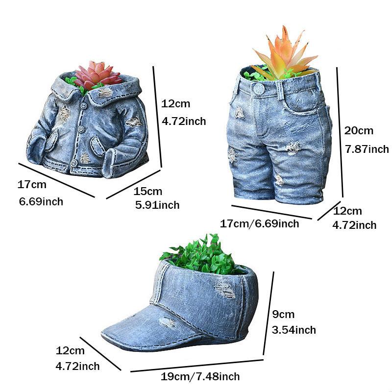 フラワーポット デニムジャケット 園芸用品 小花 多肉植物 ジーンズ 植木鉢 かわいい 庭 玄関_画像3