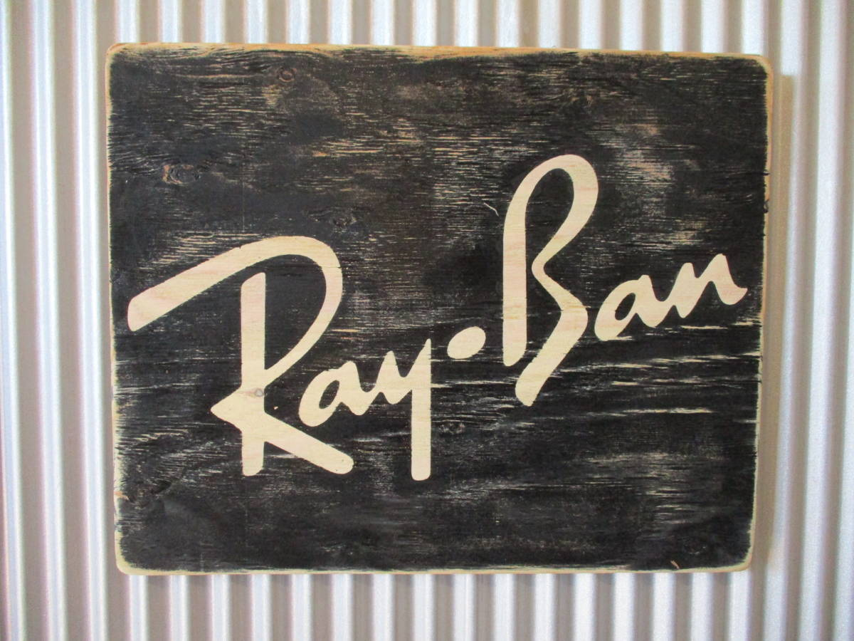 ビンテージサイン木製看板 検)RAY-BANレイバンサングラスアドバタイジングガレージオリンピアンウェイファーラーUSA50s60s70s_画像1