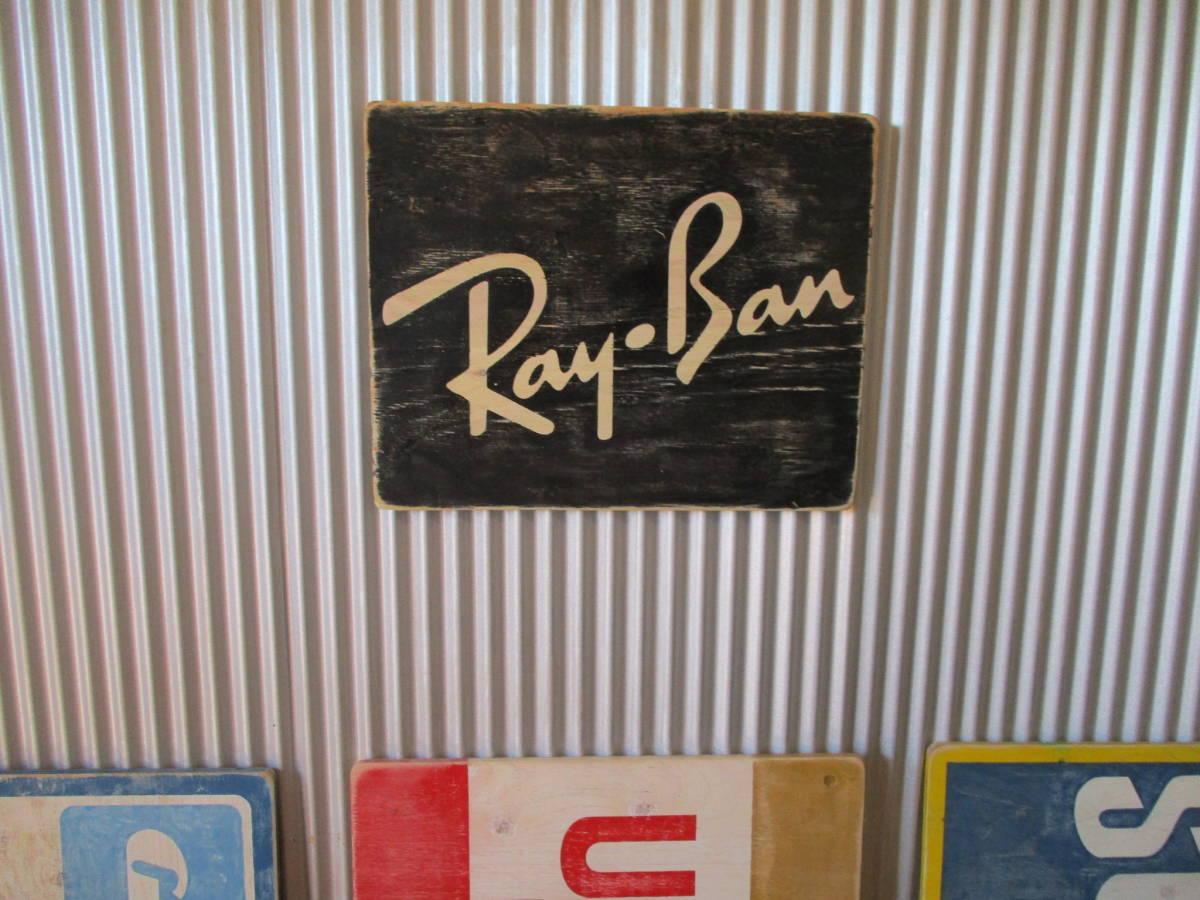 ビンテージサイン木製看板 検)RAY-BANレイバンサングラスアドバタイジングガレージオリンピアンウェイファーラーUSA50s60s70s_画像2