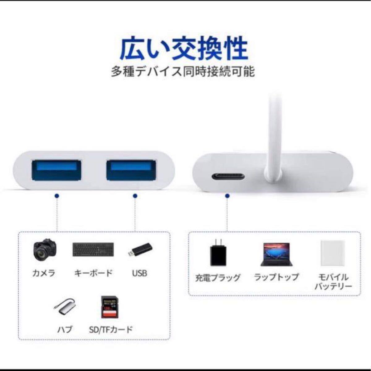 USB カメラ アダプタ iPhone/iPad専用 3in1ライトニング USBカメラ 変換アダプター