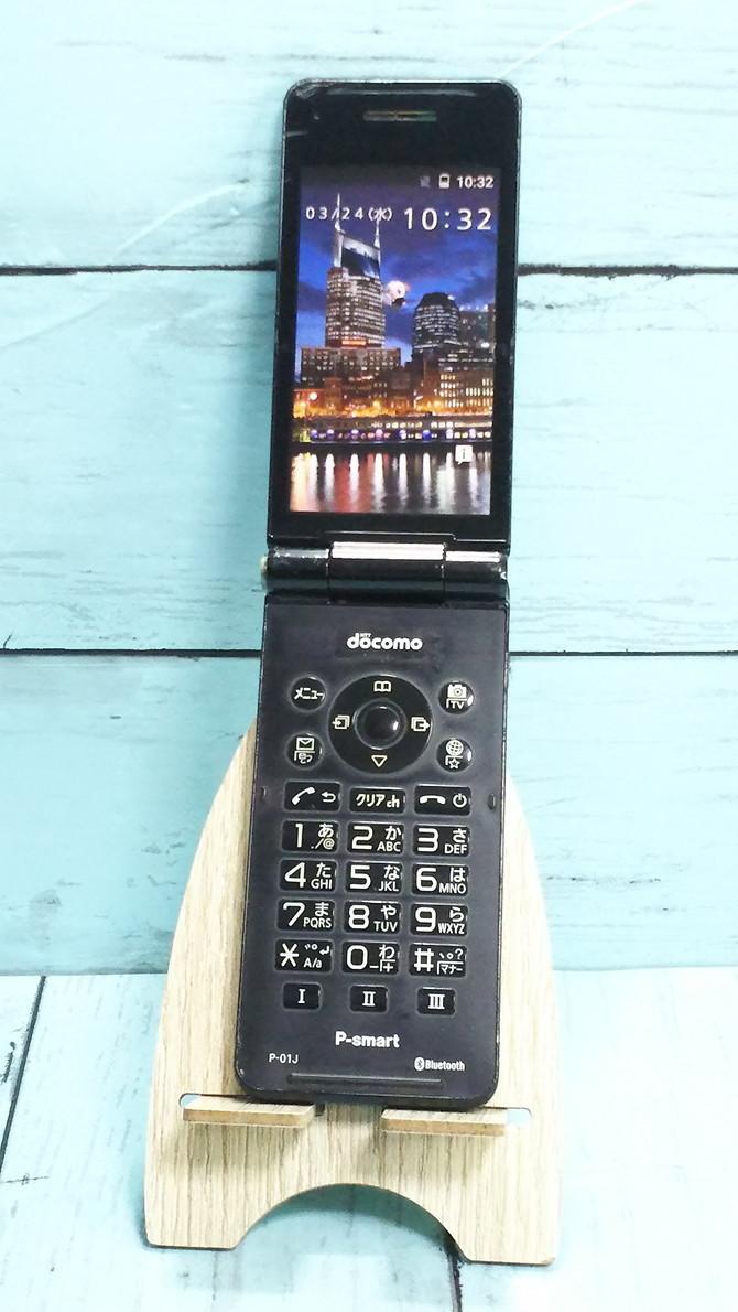 docomo Panasonic P-smart ケータイ P-01J ブラック 本体 白ロム SIMロック解除済み SIMフリー 371689_画像1
