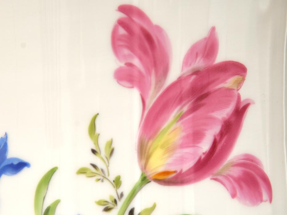 ドイツ MEISSEN マイセン フラワーブーケ 草花文 金彩 フラワーベース 高さ27㎝ 花瓶 花器 花入 花生 西洋美術 美品 z0585o_画像9