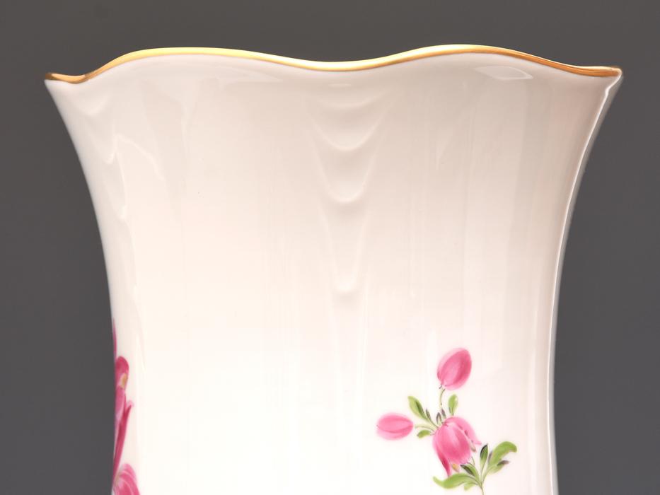 ドイツ MEISSEN マイセン フラワーブーケ 草花文 金彩 フラワーベース 高さ27㎝ 花瓶 花器 花入 花生 西洋美術 美品 z0585o_画像4